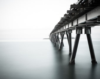 Ocean Pier Photograph - Santa Barbara California - Rincon Pier - Minimalist Photography - Landscape Print - Into the Abyss by Andrew Rhodes