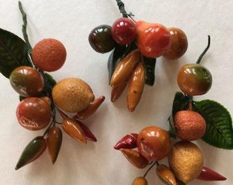 Vintage fruit millinery supplies pears lemons cherries peppers green leaves supplies