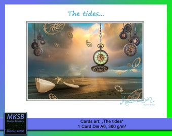 The tides, postcards, trading cards, greeting cards, art cards, tides, the environment, esotericism, esoteric, time, art, cards