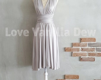 Bridesmaid Dress Infinity Dress Straight Hem Light Grey Knee Length Wrap Convertible Dress Wedding Dress