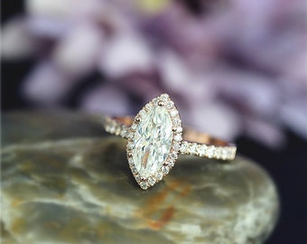 Solid Rose Gold Engagement Ring 14K Charles & Colvard Marquise Moissanite Engagement Ring Wedding Ring Anniversary Ring Stack-able Ring