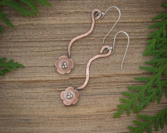 Flower earrings, Copper flower earrings, Flower and vine dangle earrings