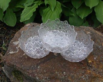 CLEARANCE..Three, Pressed Crystal,,  Bowls  (B)