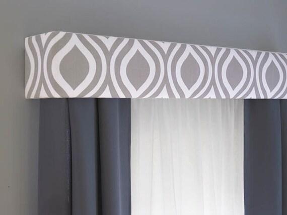 Gray Cornice Board Valance Window Treatment Custom Curtain