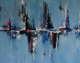 Abstract painting in acrylic on canvas 30 x 30 cm