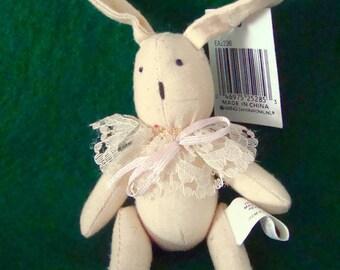 """Vintage Miniature 5"""" Primitive Cloth Rabbit - Arms & Legs Move"""