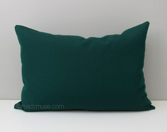 Forest Green Outdoor Pillow Cover, Decorative Pillow Cover, Modern Pillow Case, Dark Green Sunbrella Cushion Cover, Mazizmuse