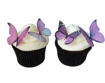 Wedding Cake Topper - Edible Butterflies in 24 Prettiest Purple - Cupcake Toppers, Butterfly Cake Decorations