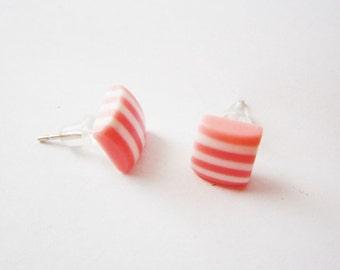 SALE Pink striped earrings, Small pink earrings, Plastic earring studs, Square post earrings, Geometric earrings, Candy stripes,