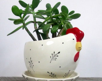 Hen planter with overflow saucer Ceramic and pottery Hotess Gift Weeding Gift  Ready to ship