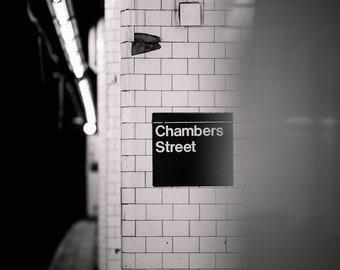 Chambers Street Subway Station Sign/Platform - Manhattan/New York City (Wall Art Prints)