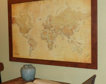 Vintage Style World  Push Pin Travel Map Ships In 24 Hours