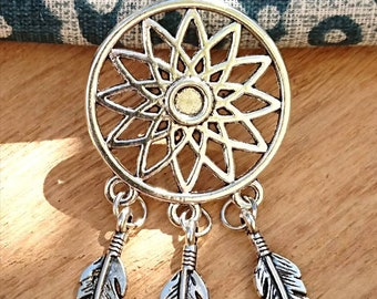 """Silver-plated Dream Catcher 20"""" Necklace Inspired by Native American Design, Dreamcatcher Necklace, Silver Necklace, Boho Necklace"""