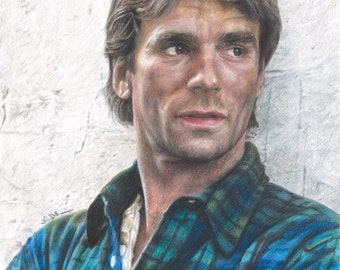 """Full Color Drawing Print of Colored Pencil Drawing of Richard Dean Anderson as """"MacGyver"""" (8.5 x 11)"""