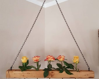 Decorative beams on chain with test tubes for flower lumber hangers Deckendeko Wall Nature 68 cm