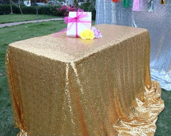 Gold Sequin Wedding Tablecloth 60 By 102 Inch Rectangular Polyester Sequin Cloth, Shiny Sequin Quality Tablecloth For Special Event Or Party