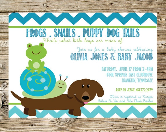 Frogs snails puppy dog tails baby shower invitation filmwisefo