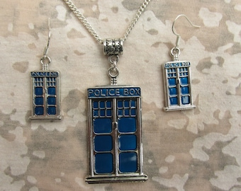 Doctor Who  Tardis Police Box Necklace & Earrings set