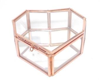 Large Rose Gold Heart Shape Glass Jewellery Box,  Destash, Seconds, Heart Shape Jewellery Box, Rose Gold Glass Jewelry Box