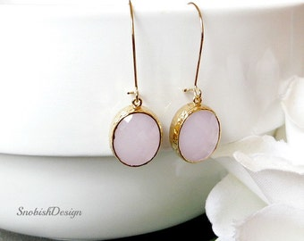Small Mininal Earrings, Dainty Minimalist Earring, Everyday Simple Earrings, Bridesmaid Earrings, Gold Earrings, Bridesmaid Gift, Pink