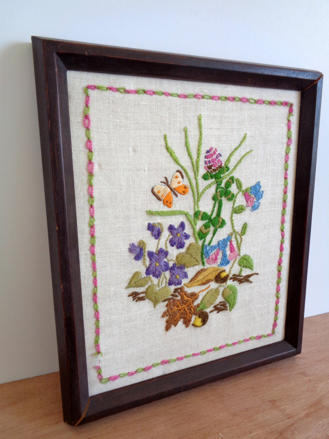 CLEARANCE Vintage Crewel Needlepoint Embroidery Framed Art - Natural ...