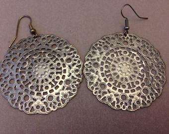 Vintage Silver Doily Earrings