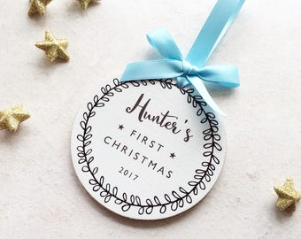 Personalised Baby's First Christmas Bauble Christmas Decotation – Blue