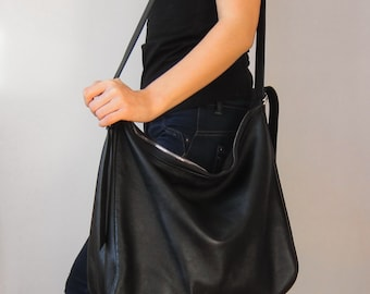 Black leather bag, tote leather bag, big leather bag, soft leather bag, leather hobo bag, crescent bag