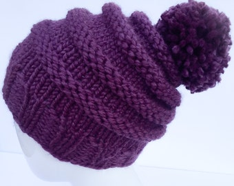 """Knit Slouchy Hat with Pom Pom , Knit Hat Pom Pom, Knit Hat,  Winter Hat, Women's Gifts, Christmas Gifts, """"Fig"""", Plum, Purple, Gifts under 30"""
