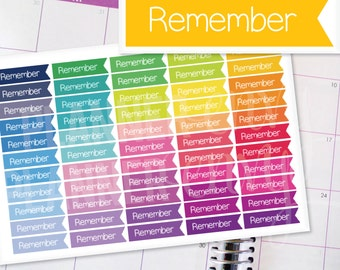Planner Stickers Erin Condren Life Planner (Eclp) - 55 Remember Flag Header Stickers (#7009)