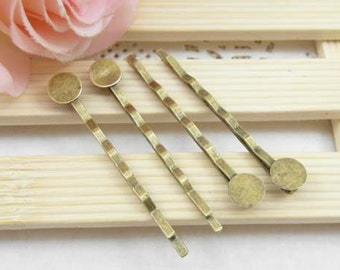 50pcs Antique Brass Bobby Pin with Glue Pad/Hair pin/Jewelry Finding 50mm, The size of the pad is about 8mm
