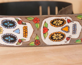 Leather Guitar Strap - Handmade in the Stacked Skull pattern with day of the dead sugar skulls