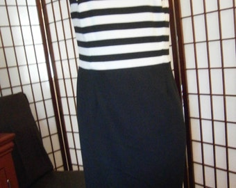 Women's Dress - Black and White Striped Top