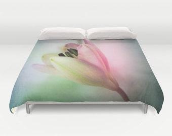 Lily Duvet Cover, Lily Bedding, Flower bedding, Pink Decor, Dorm, Nature Comforter Cover, Beach, Flower Duvet Cover, Twin, Full, Queen, King
