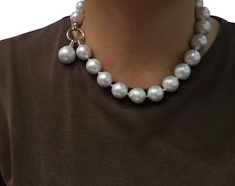 Big Natural Baroque Pearl Necklace /Plump pearls