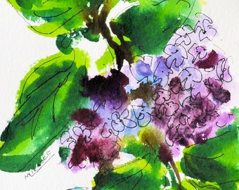 Lilacs, original painting, watercolor, pen and ink, spring, flowers, purple, green, gift for her, Kit Miracle