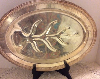 Vintage Large Oval Shaped Silver Plated Footed Platter, Leaf Design,, Holiday Party, Wedding Decor, Oval Serving Platter