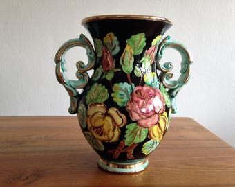 Vase - black and green flowers and gold - Cerart, Monaco 1950