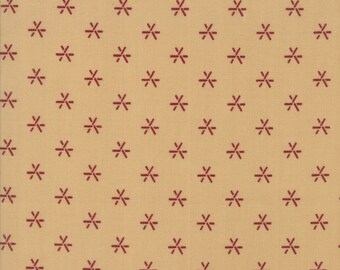 Moda Liberty Gatherings Cream Tan with Red Star Asterisk Fabric 1207-16 BTY