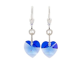 SWAROVSKI Mini Heart Sterling Silver Earrings in Blue Sapphire