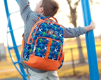 Airplane kids backpack Personalized,  Custom school Bookbag, Back to School supplies