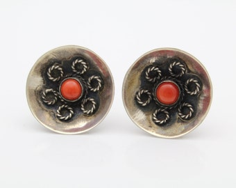 Natural Red Coral Antique Screwback 1-Inch Earrings Sterling Silver. [7290]