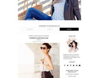 "Responsive Blogger Template - Simple - Minimal - Customizable - ""Victoria"" - Slider and Drop Down menu - Blogger Theme, Instant Download"