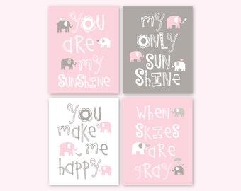 Elephant Nursery Decor, Pink Gray Elephant Art for Baby Girl Bedroom Playroom, You are my sunshine Wall Art, Set of 4 PRINTS or CANVAS
