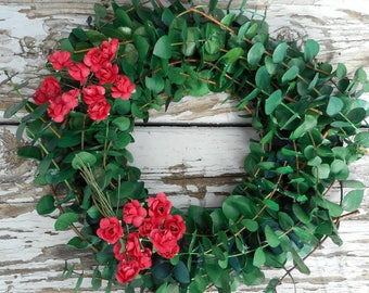 "Eucalyptus Wreath (8""), Small Wreath, Paper Flowers & Eucalyptus Wreath, Birthday Gift, Outdoor Wreath, Housewarming Gift"