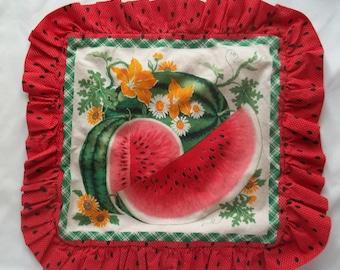 Watermelon Vintage Pillow Cover,  Summer Fruit Pillow Cover, Garden