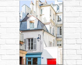 Paris Photograph on Canvas - Buildings in the Marais, Gallery Wrapped Canvas, Architecture Photo, Urban Decor, Large Wall Art
