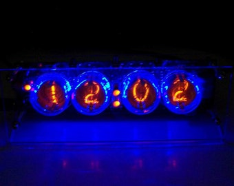 Soviet IN 1 Nixie Tube Desk Clock. Hand Made 4 Digit 12 hr AM/PM Mode Table Clock 110V / 220V