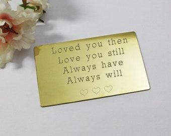 Groom gift brass wallet insert card wedding gift custom engraved gift for groom wedding day gift personalised gift customised wallet insert