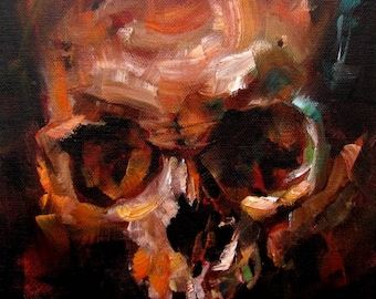 Halloween Decor Skull Painting by CES - Dark Art Halloween Painting Outsider Orange Skull Horror Wall Art Macabre Painting Impressionist ART
